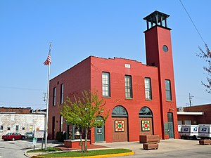 Plymouth, Indiana - Historic fire station with patchwork quilt designs on doors