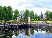 Pond and klocktower Manor herrgard Lövstabruk Sweden 3.JPG