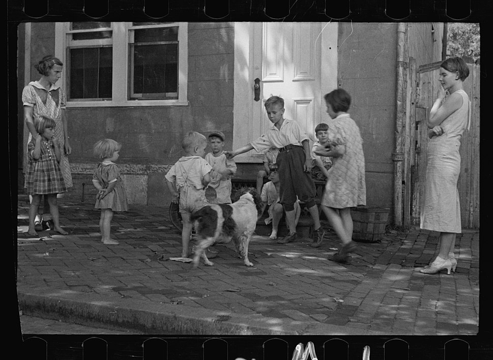 Poor children playing on sidewalk, Georgetown, Washington, D.C. Digital ID- (digital file from original neg.) fsa 8a00156 http- hdl.loc.gov loc.pnp fsa.8a00156