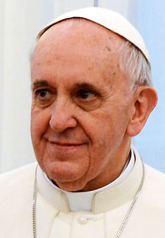 From commons.wikimedia.org: Pope Francis in March 2013 (cropped) {MID-309246}