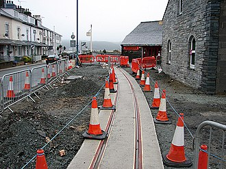 Porthmadog Harbour railway station - Construction of the WHR's Cross Town Rail Link (CTRL) outside the station, 2011