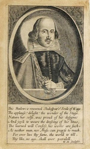 William Marshall (illustrator) - Marshall's image of Shakespeare for Benson's 1640 edition of his poems