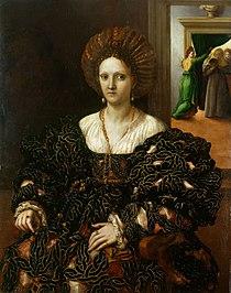 Portrait believed to depict Margherita Paleologo by Giulio Romano.jpg