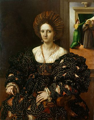 Margaret Paleologa - Portrait by Giulio Romano believed to depict Margaret Paleologo, c.1531. The Royal Collection.
