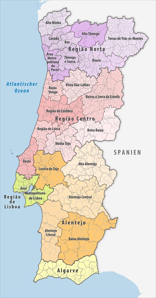 Karte Kontinentalportugal: Regionen und Distrikte. Portugal Regionen Subregionen