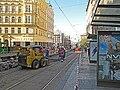 Praha, zastávka I. P. Pavlova, oprava tramvajové trati - pohled k Ječné.JPG