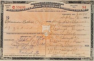 Medicinal Liquor Prescriptions Act of 1933 - Image: Prescriptions for Medicinal Spirits 1922