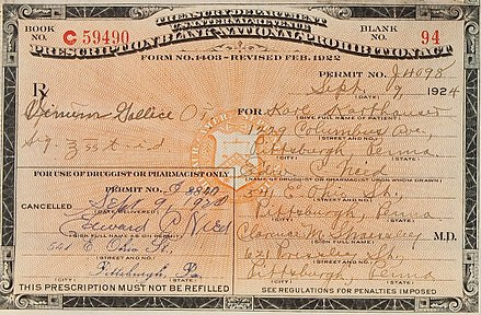Prescription for medicinal alcohol during prohibition Prescriptions for Medicinal Spirits - 1922.jpg