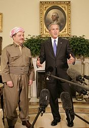 President George W. Bush talks to reporters as he welcomes Massoud Barzani, the President of the Kurdistan Regional Government of Iraq, to the Oval Office at the White House, Tuesday, Oct 25, 2005.