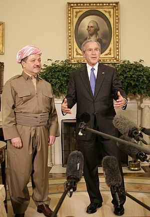Masoud Barzani - President George W. Bush talks to reporters as he welcomes Masoud Barzani to the Oval Office at the White House, Tuesday, 25 October 2005