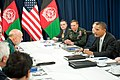President Barack Obama, U.S. Secretary of State Hillary Clinton, U.S. Army Gen. David Petraeus, and President of Afghanistan Hamid Karzai, meet during a NATO summit.jpg