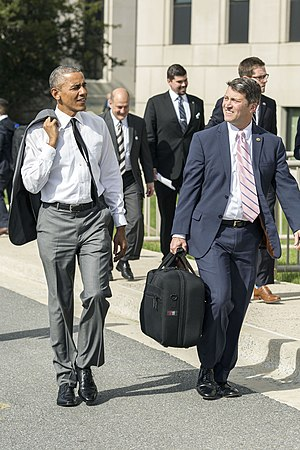White House Medical Unit - President Barack Obama departs Walter Reed National Military Medical Center with Dr. Ronny Jackson, in Bethesda, Maryland on April 29, 2015.