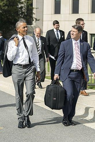 White House Medical Unit - President Barack Obama departs Walter Reed National Military Medical Center with Dr. Ronny Jackson, in Bethesda, Maryland on April 29, 2015.