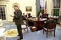 President George H. W. Bush speaks by phone with British Prime Minister John Major.jpg