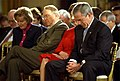President George W. Bush and Laura Bush bow their heads in prayer during a ceremony marking today as the National Day of Prayer.jpg