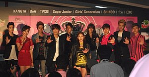 SM Town Live World Tour III - SM artists attending a press conference in Bangkok.