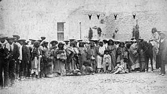 Victorio's War - Apache prisoners and Mexican soldiers after the Battle of Tres Castillos