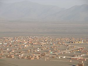 Pueblos jóvenes - A new pueblo joven in the desert at the northern end of Peru's capital Lima, near Ancón.