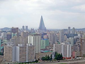 Pyongyang as seen from Yanggakdo Hotel view north close.jpg