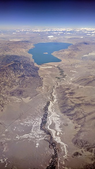 Pyramid Lake (Nevada) - Aerial view from the south of the Truckee River where it drains to Pyramid Lake,