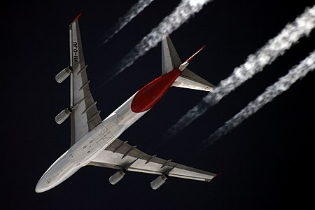 Qantas Boeing 747-400 on a flight from Asia to Europe, captured from the ground at Starbeyevo, Moscow, whilst the aircraft is at 11,000metres