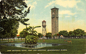 Fort Sam Houston - Quadrangle Plaza, Fort Sam Houston (postcard, circa 1890–1924)