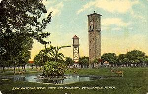 Fort Sam Houston - Quadrangle Plaza, Fort Sam Houston (postcard, circa 1890–1924)