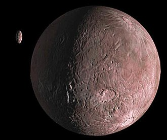 50000 Quaoar - A moderately red Quaoar and its moon Weywot (artist's conception)