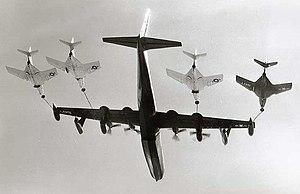 Convair R3Y Tradewind - R3Y-2 Tradewind refuels a record four fighters in flight, 1956
