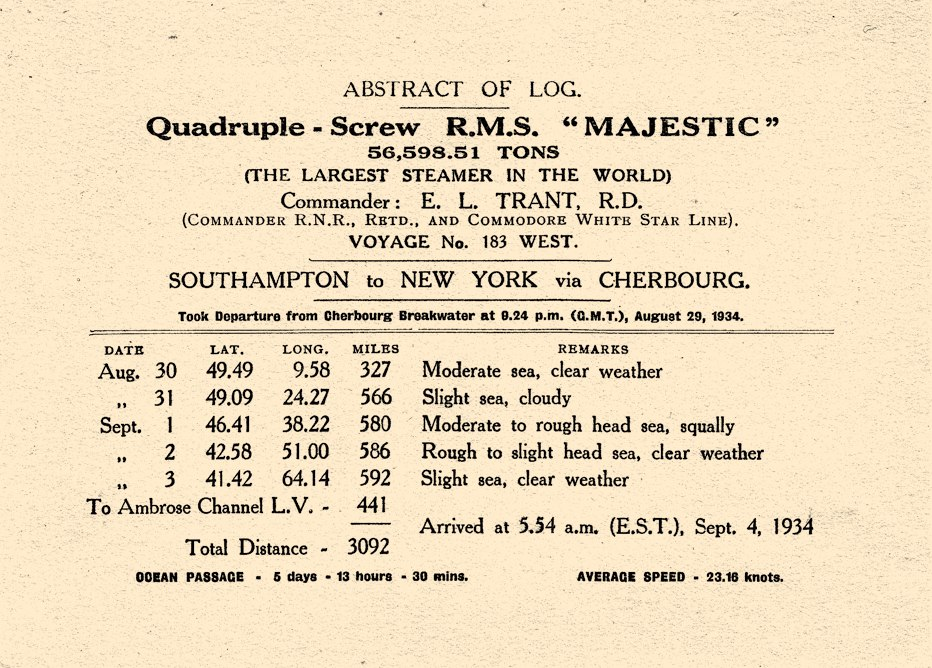 RMS %22Majestic%22 Abstract of Log 1934
