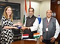 Radha Mohan Singh meeting the Deputy Prime Minister and Minister of Agriculture, Nature and Food Quality of Netherlands, Ms. Carola Schouten.JPG