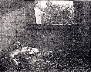 Ragnar Lodbrok - 19th century artist's impression of Ælla of Northumbria's execution of Ragnar Lodbrok