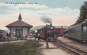 Sandy River and Rangeley Lakes Railroad - Depot at Phillips c. 1912