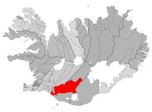 Hella, Iceland - Image: Rangarthing ytra map