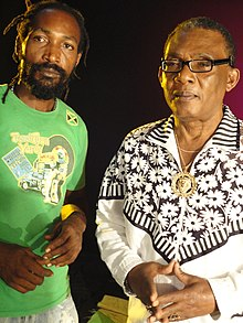 "Ras Tingle and Ken Boothe on the set of 'Touch you"".JPG"