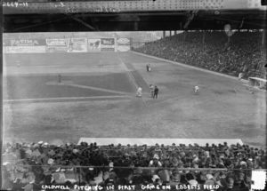 Ray Caldwell pitching in the first game at Ebbets Field, April 5, 1913.jpg