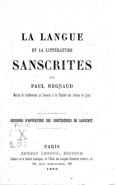 File:Regnaud - La Langue et la littérature sanscrites.djvu
