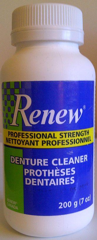 Denture cleaner - Bottle of Renew professional strength denture cleaner in powder format