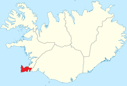 Suðurnes or Southern Peninsula region highlighted red on a map