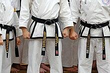 Alcune scuole di arti marziali coreane usano ricamare delle barre per denotare i differenti gradi di dan, come mostrato nelle cinture di cui sopra 1º, 2º e 3º dan