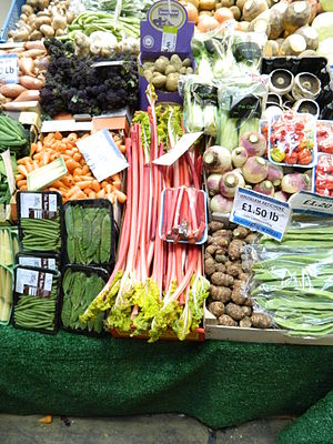 Rhubarb - Rhubarb displayed for sale at a market in Leeds, England
