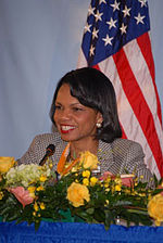Rice discusses American-Venezuelan relations at the CARICOM Ministerials in March 2006