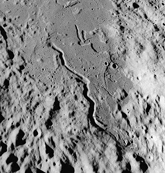 Conon (crater) - Oblique view of Rima Conon from Apollo 17