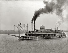River Boat America with Convicts and supplies on the Mississippi River headed for Angola