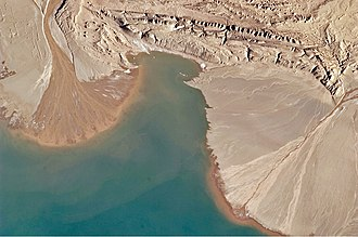 Lake Ayakum - Astronaut photograph highlighting two river deltas formed along Lake Ayakum's south-western shoreline