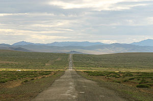 English: Countryside road in Central Mongolia,...
