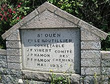 Road marker stone in Saint Ouen dated 1935 inscribed with the names of the Roads Committee Road marker St Ouen Jersey 1935.jpg