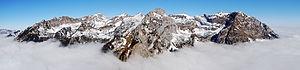 Brandenberg Alps - Main Rofan group seen from the southwest (Ebner Joch). Left to right: Dalfaz Walls; Streichkopf, Hochiss, Spieljoch, Seekarlspitze, Haidachstellwand, Rofanspitze, Sagzahn, Vorderes Sonnwendjoch