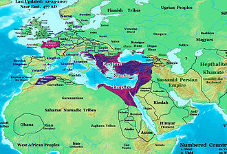 Western Roman Empire - Europe in 477 AD. Highlighted areas are Roman lands that survived the deposition of Romulus Augustulus.
