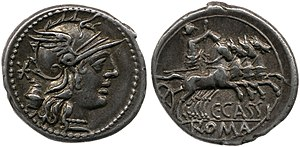 Ballot laws of the Roman Republic - Image: Roman coin commemorating the secret ballot law of 137 BC